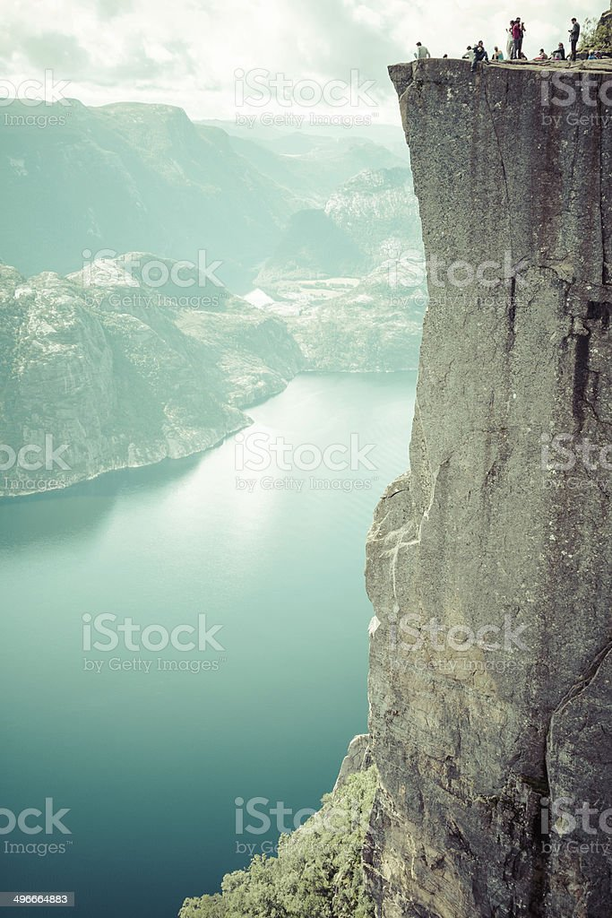 Preikestolen,Pulpit Rock at Lysefjorden (Norway). A well known t stock photo