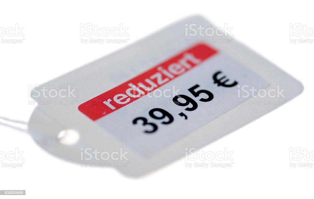 Preisschild für reduzierte Ware stock photo