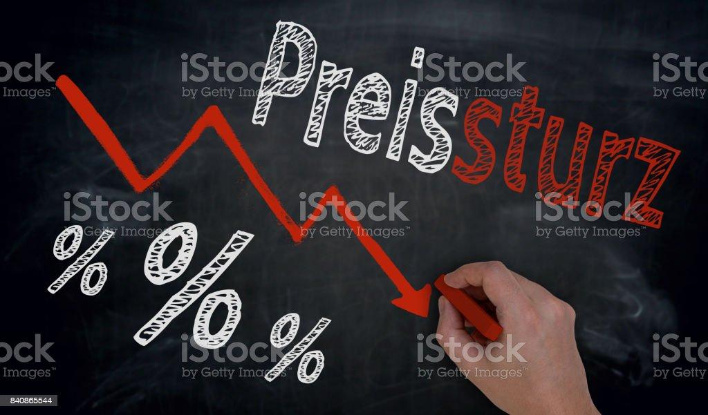 Preissturz (in german price fall) is written by hand on blackboard stock photo