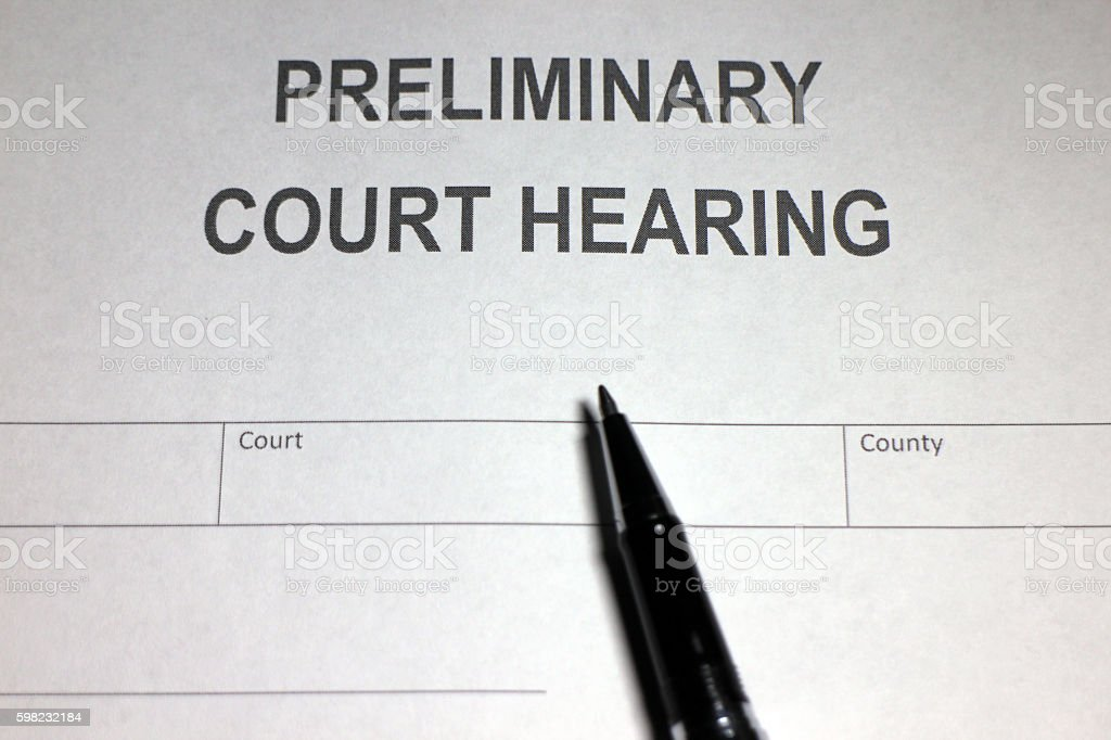 Preliminary Court Hearing Document foto royalty-free