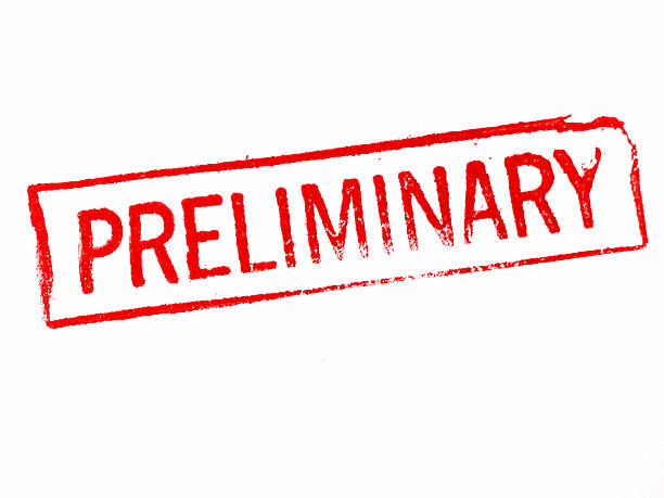 """Preliminary Stamp of the word """"preliminary."""" From a vintage stamp. qualification round stock pictures, royalty-free photos & images"""