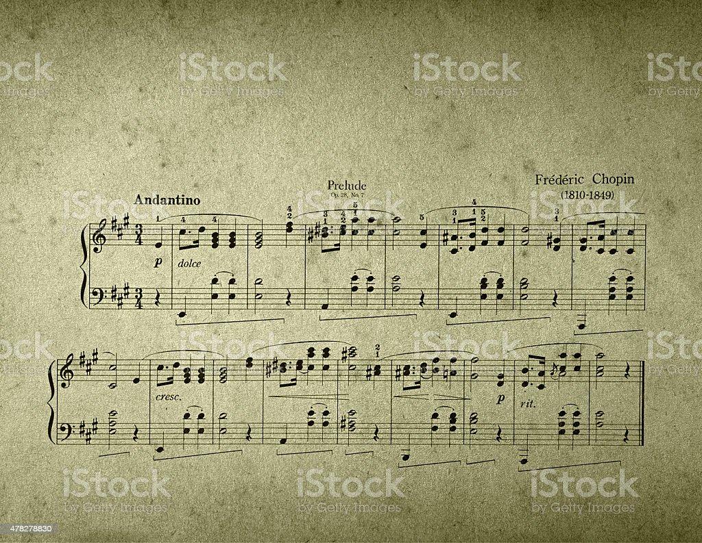 Prelude Chopin sheet music stock photo