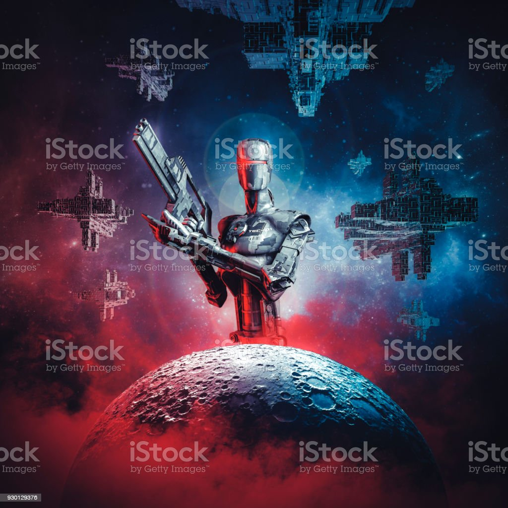 Prelude to space war stock photo