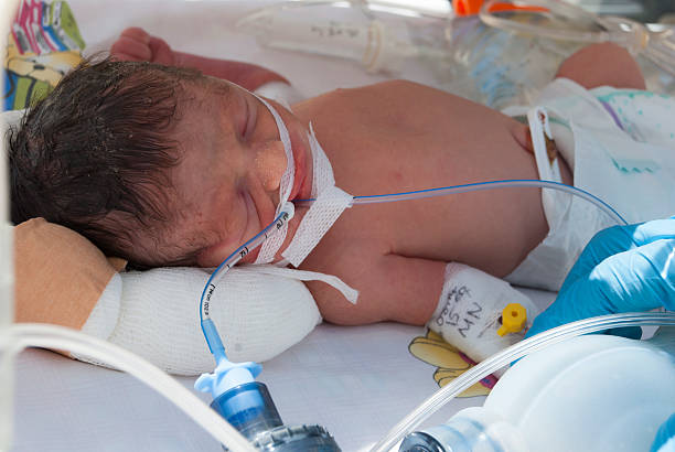 premature baby - mom spying stock photos and pictures