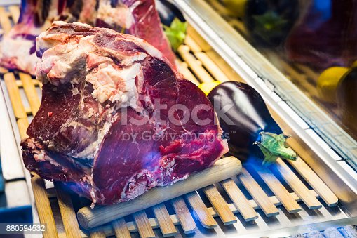 istock premium aged beef meat in a shop window at a restaurant 860594532