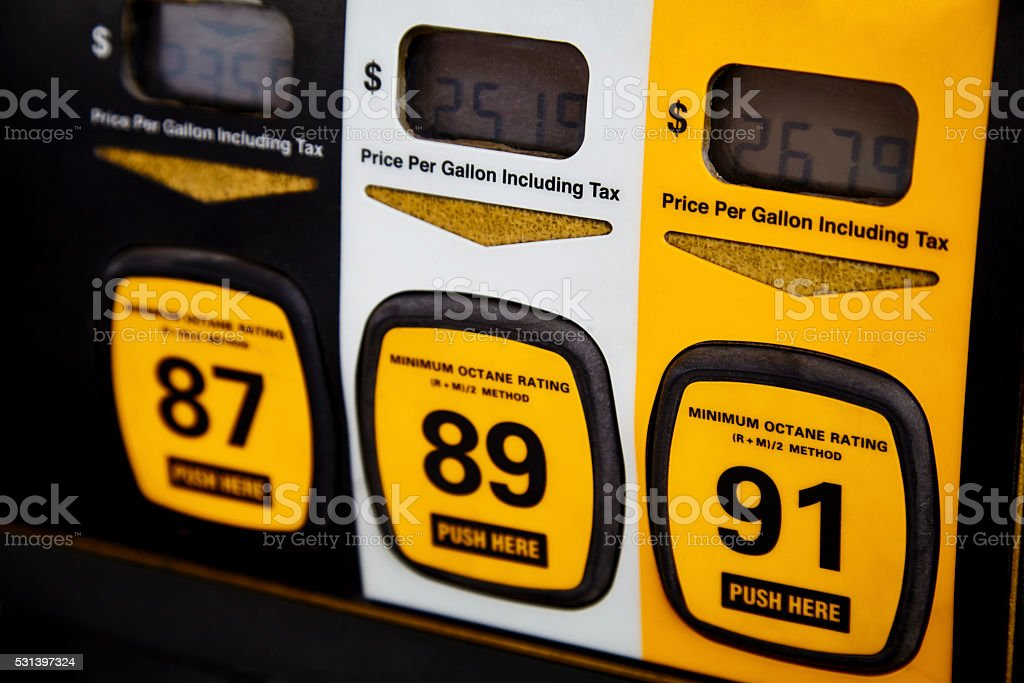 Premium Gas Price on Gas Pump stock photo