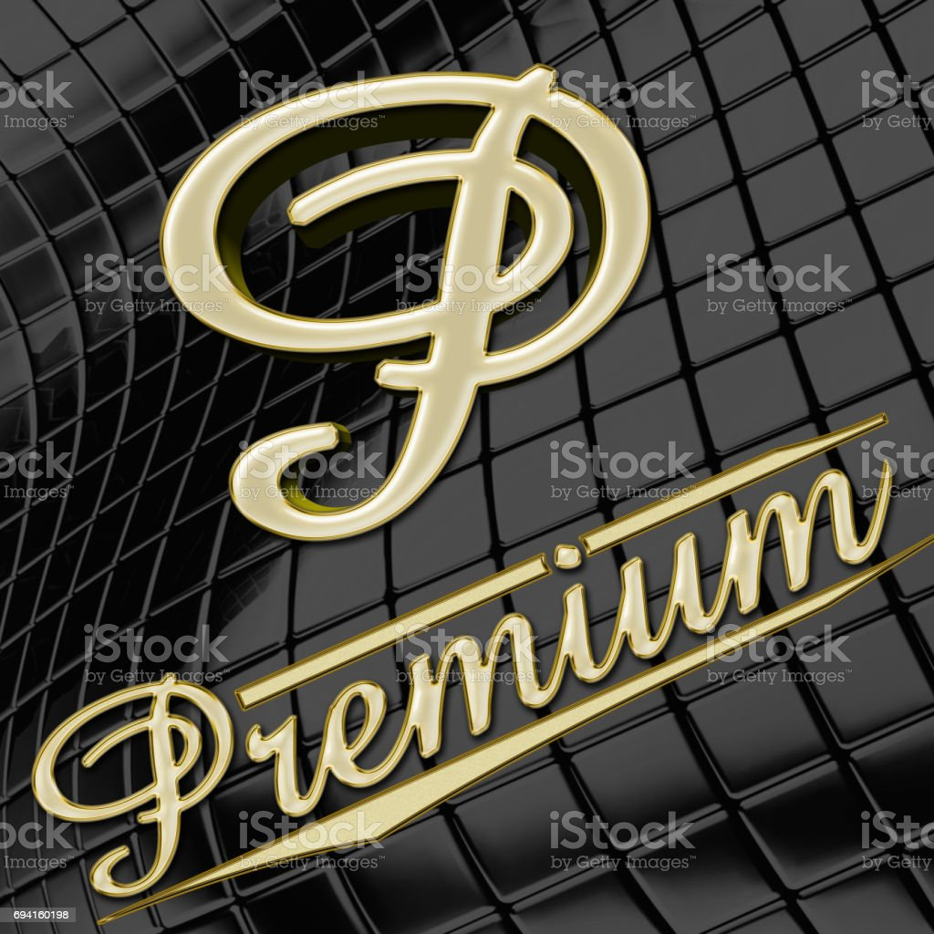 Premium quality gold emblem ' P ', Premium spelled out in bright golden letters, Isolated against the shiny dark black background. stock photo