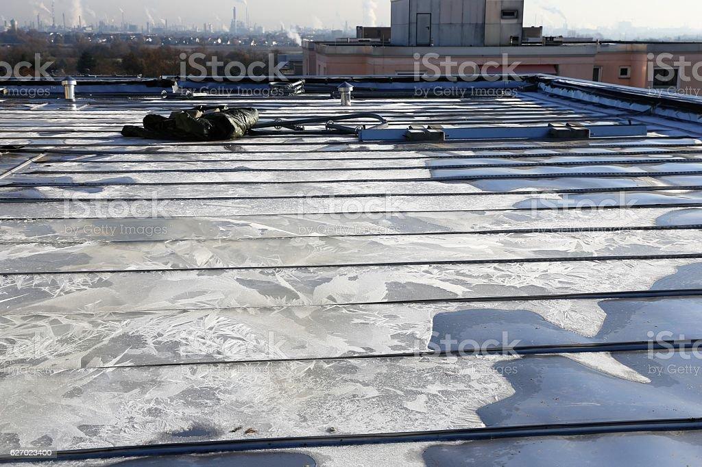 Premium steel flat roof stock photo