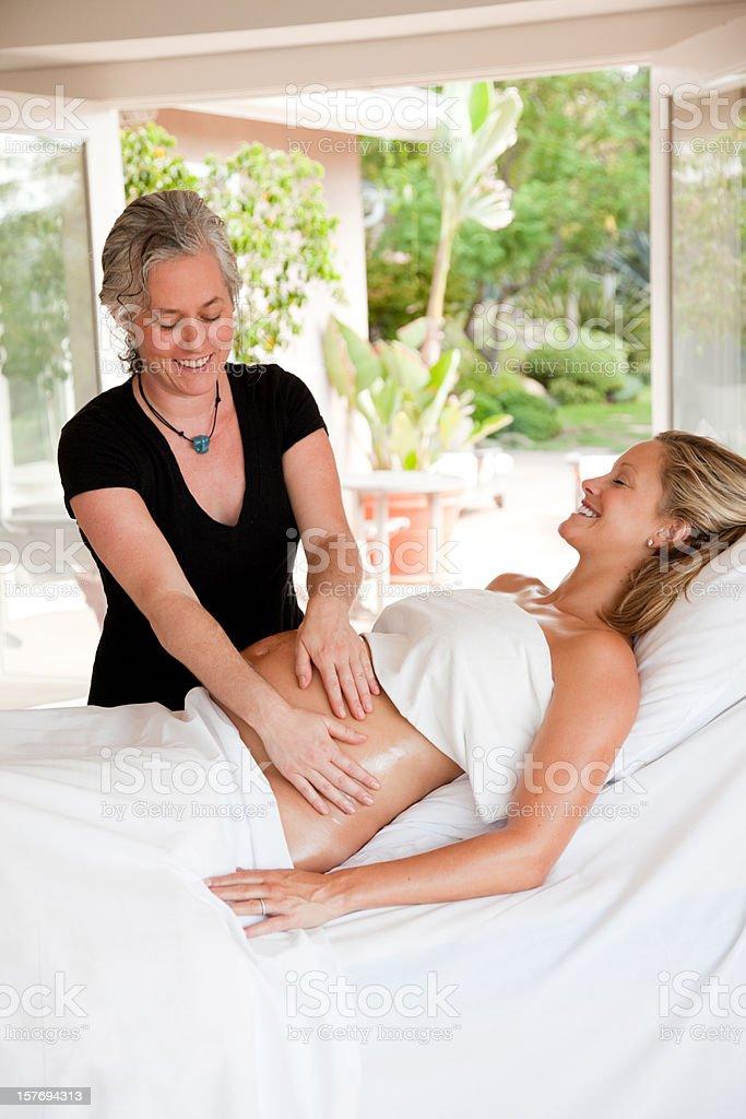 Prenatal (Pregnancy) Massage stock photo