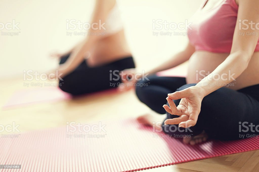 Prenatal yoga stock photo