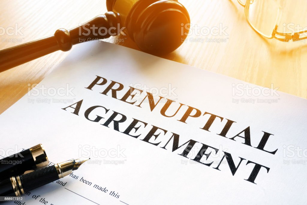 Prenuptial Agreement on a table. stock photo