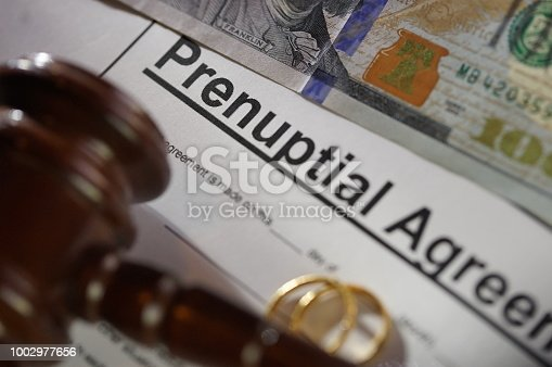 shot of a prenuptial agreement
