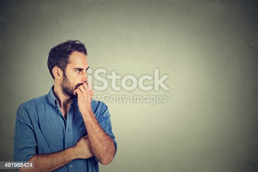 istock Preoccupied anxious young man 491988424