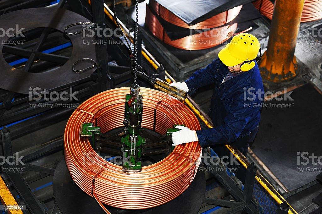 Prepackaging copper wire stock photo