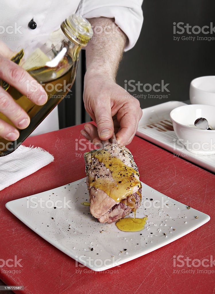 Prepaling lamb meat royalty-free stock photo