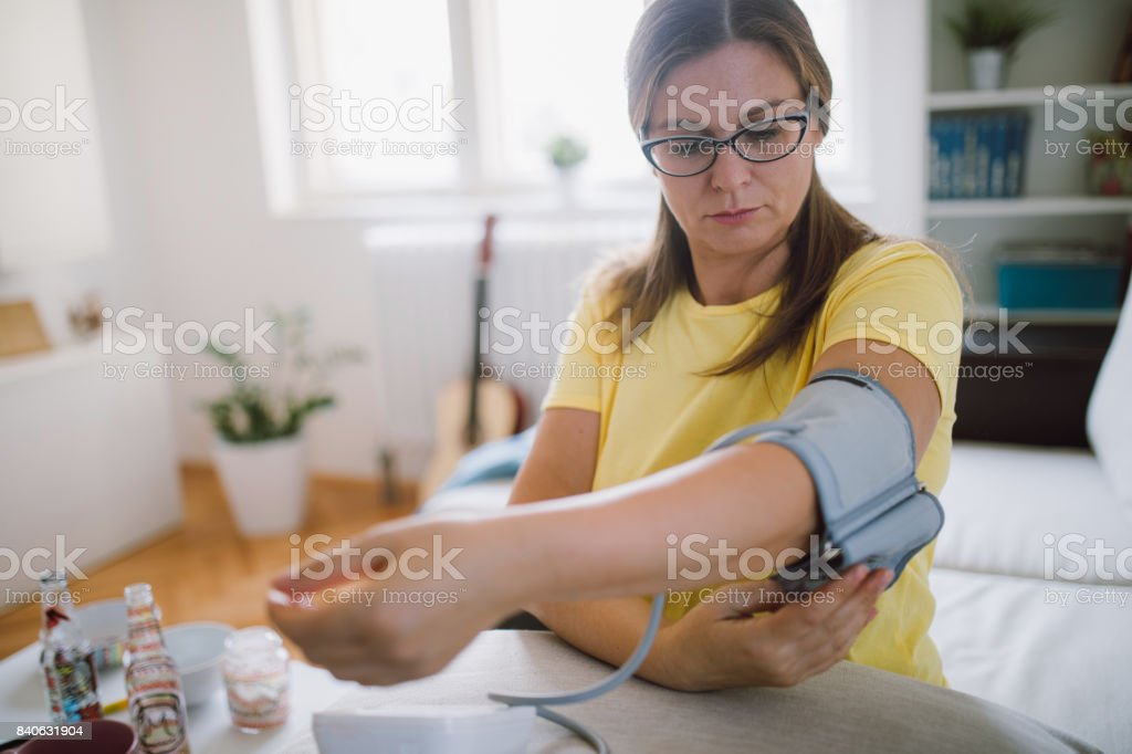 Preparation checking blood presure stock photo