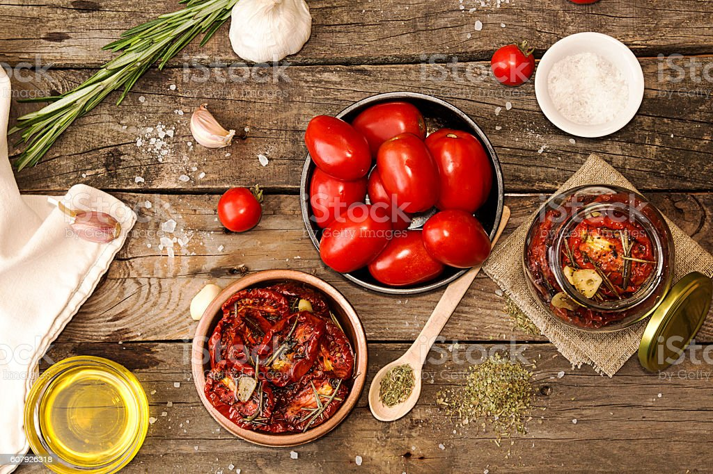 Preparation dried tomatoes stock photo
