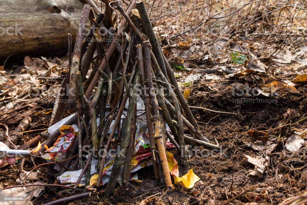 Preparation firewood to the fire. royalty-free stock photo