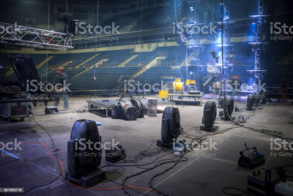 Preparation for a concert stock photo