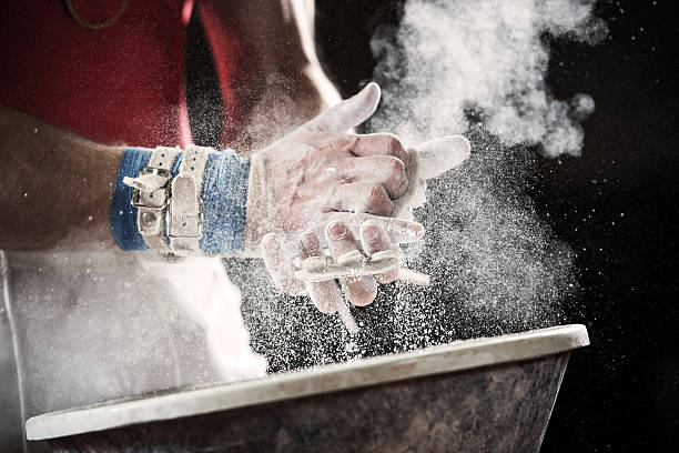 Preparation for gymnastic bars. stock photo