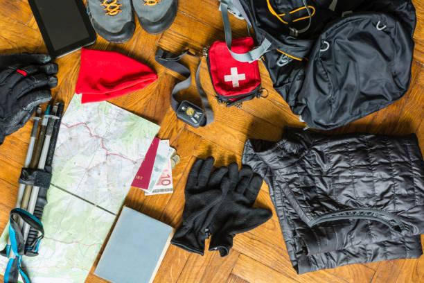 Sırt çantası ambalaj için hazırlık. stok fotoğrafı