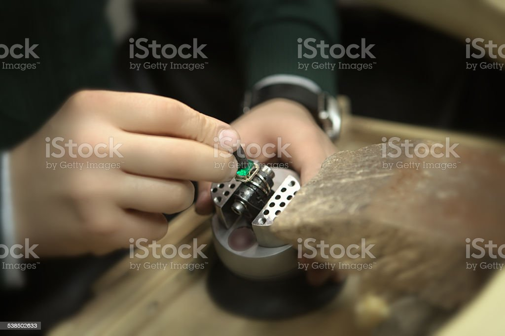 Preparation for setting Emerald stock photo