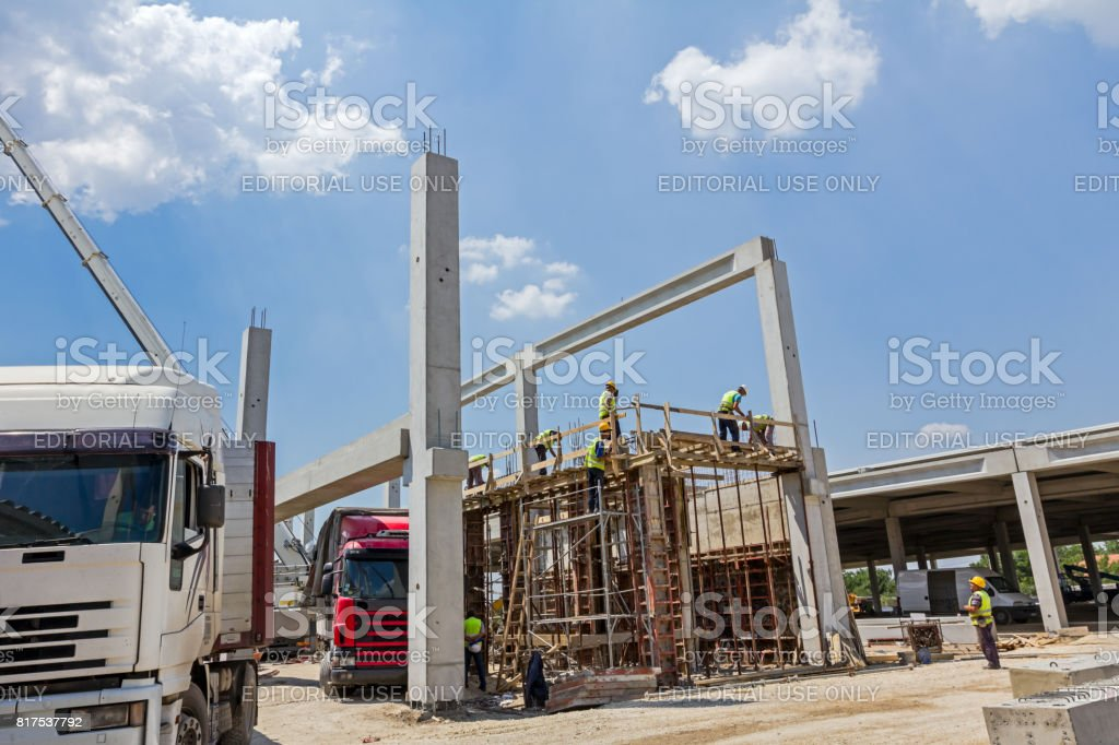 Preparation is in progress to assembly demountable big mold for concrete pouring. stock photo