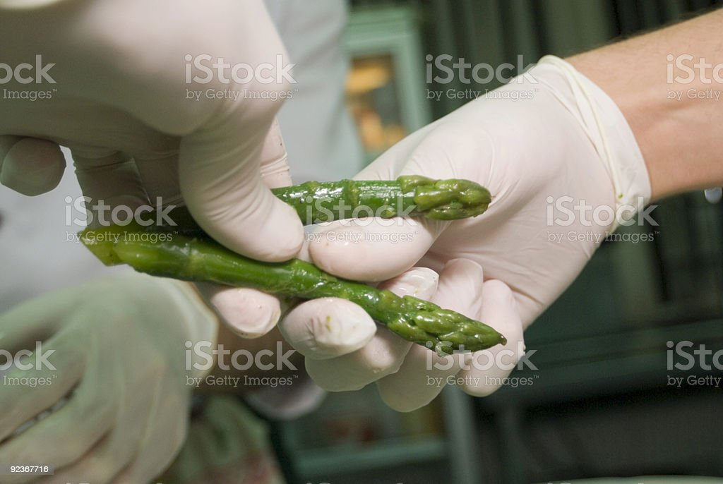 Preparation of an asparagus. royalty-free stock photo