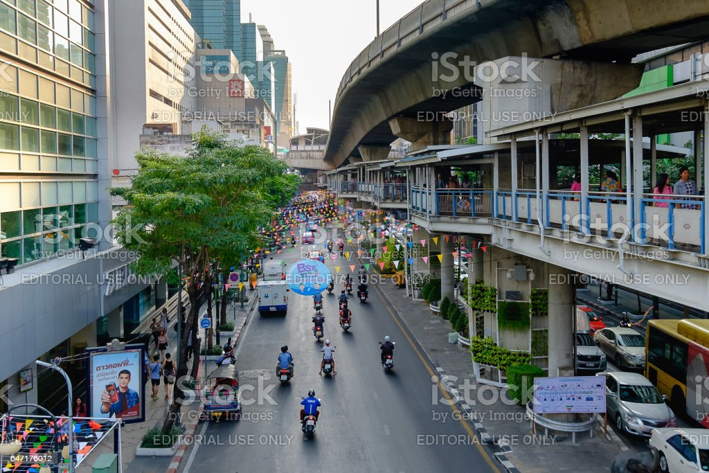 Preparation of Bangkok Songkran Festival Silom 2016 stock photo