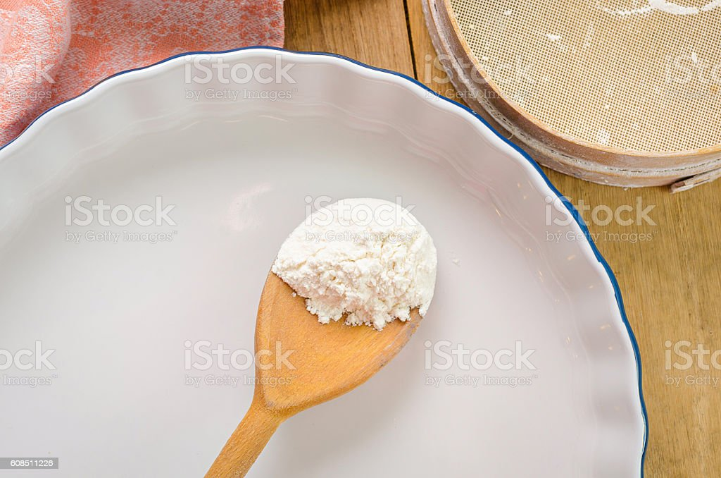 Preparation of delicious sweet cake flavored with ripe red straw stock photo