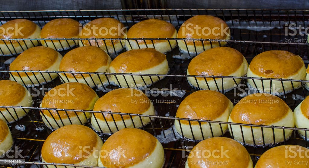 Preparation of donuts stock photo