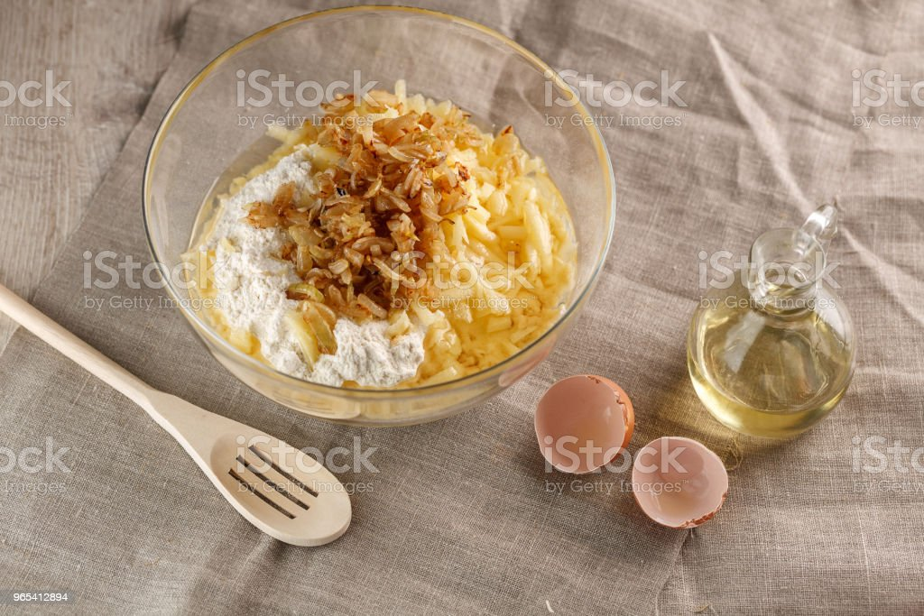 preparation of dough for flat bread. dough kneading for flat pancakes royalty-free stock photo