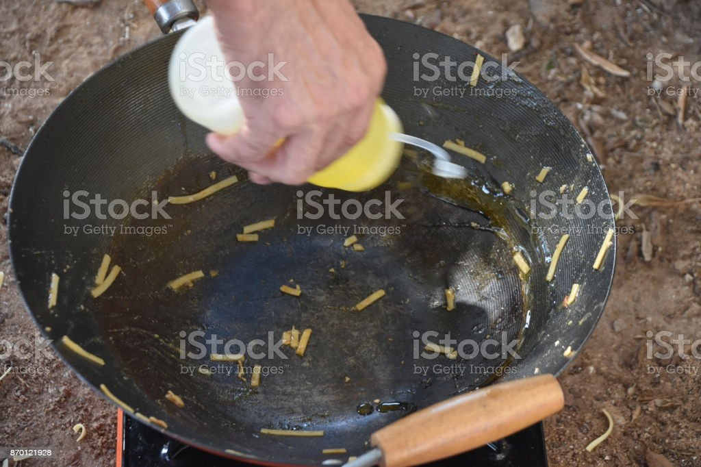 Preparation of food in nature stock photo