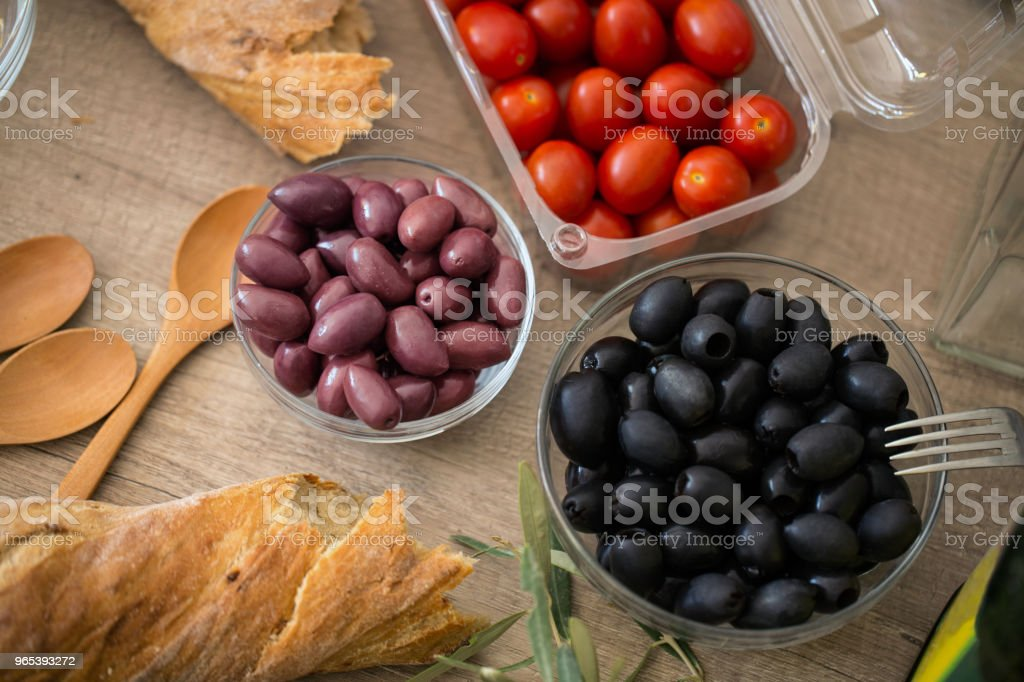 Preparation of healthy vegetable salad royalty-free stock photo