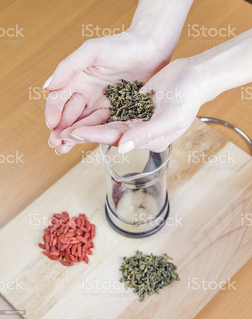 Preparation of herbal tea royalty-free stock photo