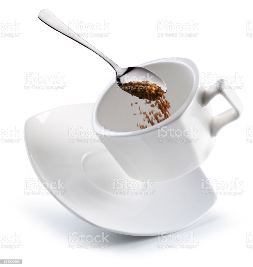Preparation of instant coffee. Conceptual picture. stock photo