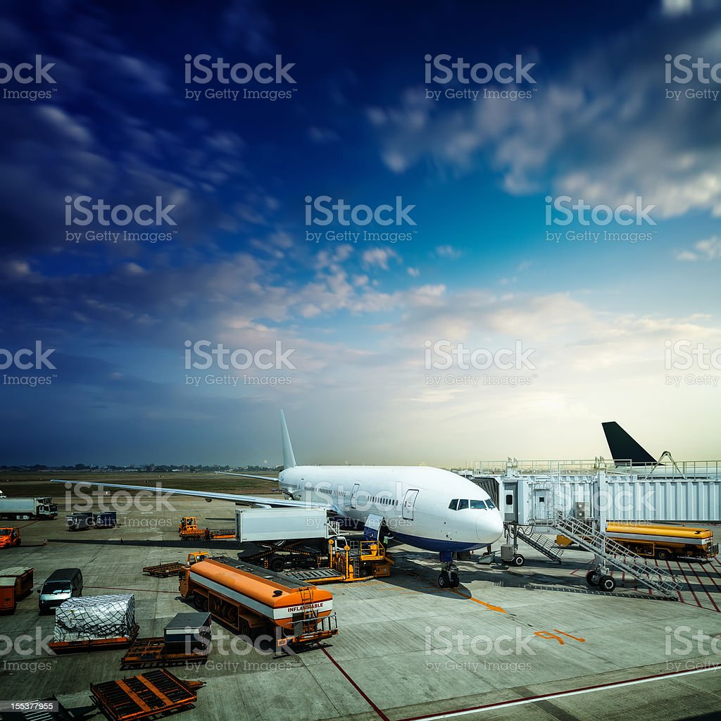 Preparation of the aircraft before departure stock photo