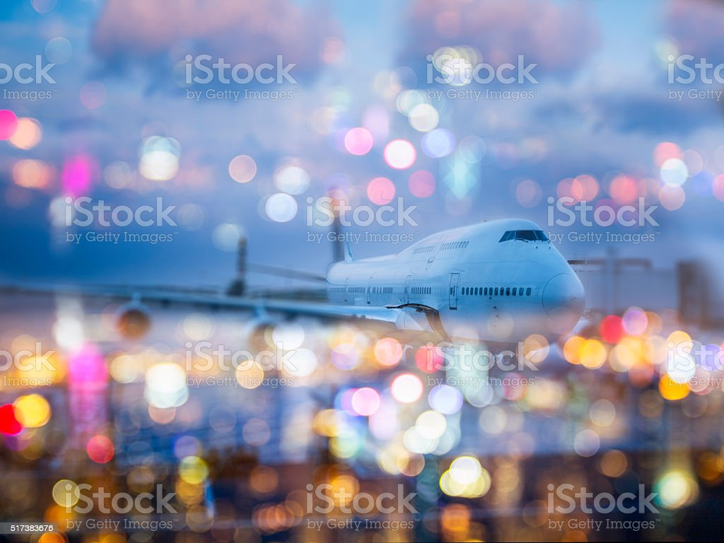 Preparation of the airplane before departure stock photo