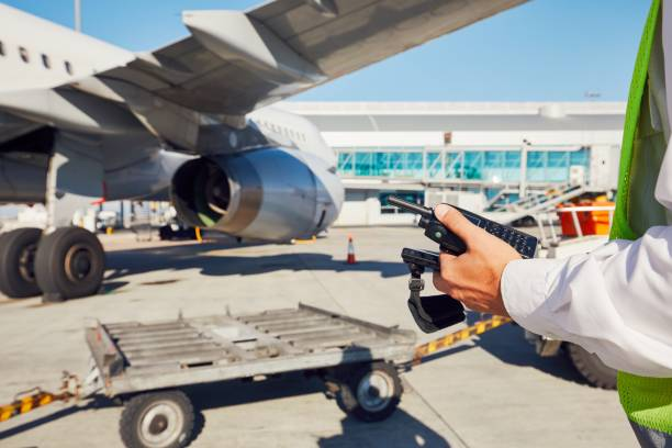 Preparation of the airplane stock photo