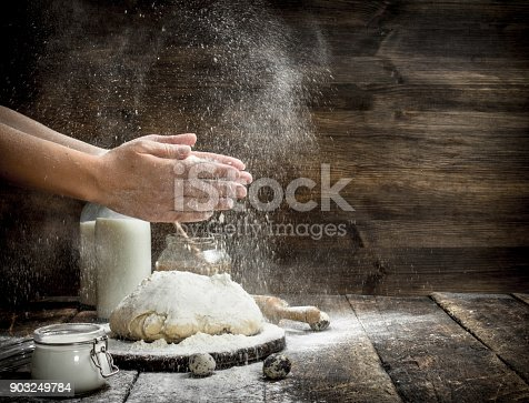 istock Preparation of the dough from fresh ingredients. 903249784