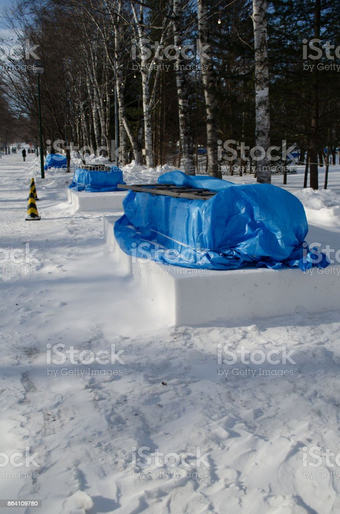 Preparation of the Snow Festival royalty-free stock photo