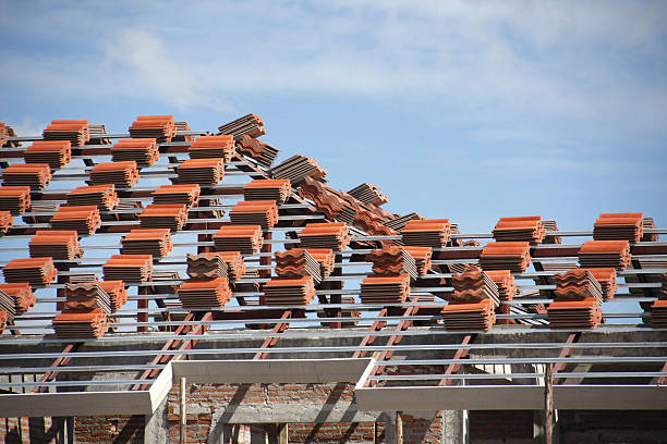 Preparation roof tile stock photo