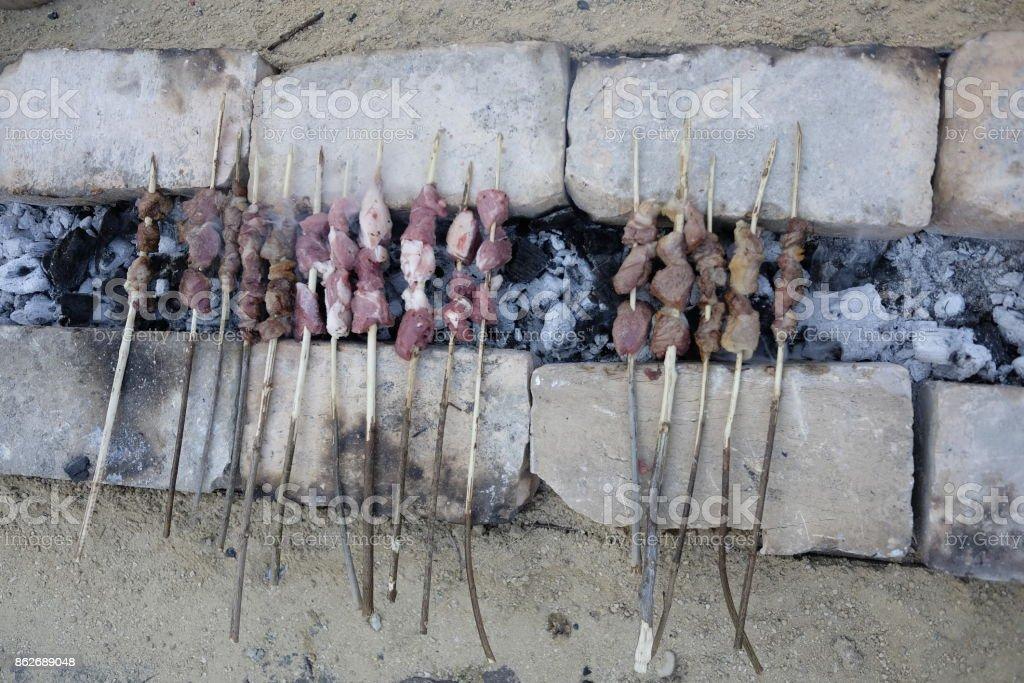 preparation skewers - foto stock