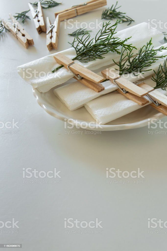 Preparations about arranging the table for winter holidays. Winter...
