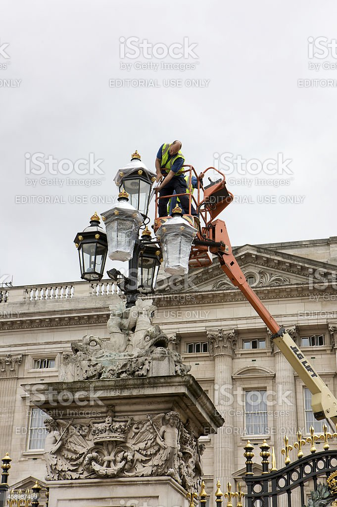 Preparations at Buckingham Palace for the Queens Diamond Jubilee royalty-free stock photo