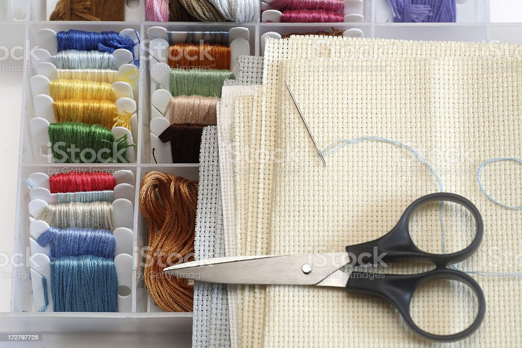 Preparations for embroidery (Cross-Stitch) royalty-free stock photo