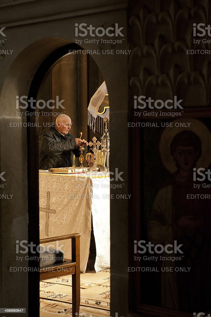 Preparations for Mass stock photo