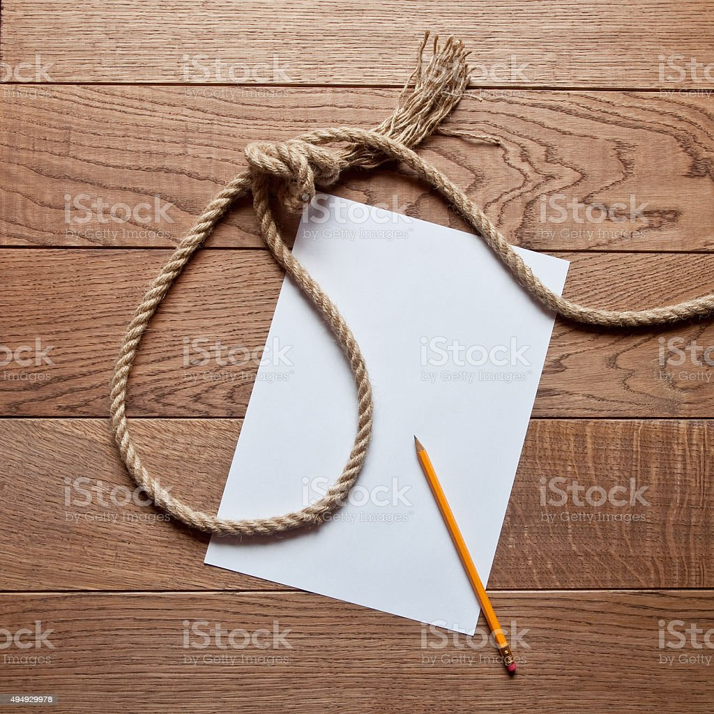 Preparations for suicide stock photo