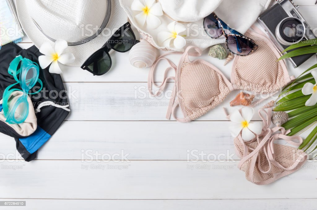 prepare accessories and travel items for summer trip stock photo