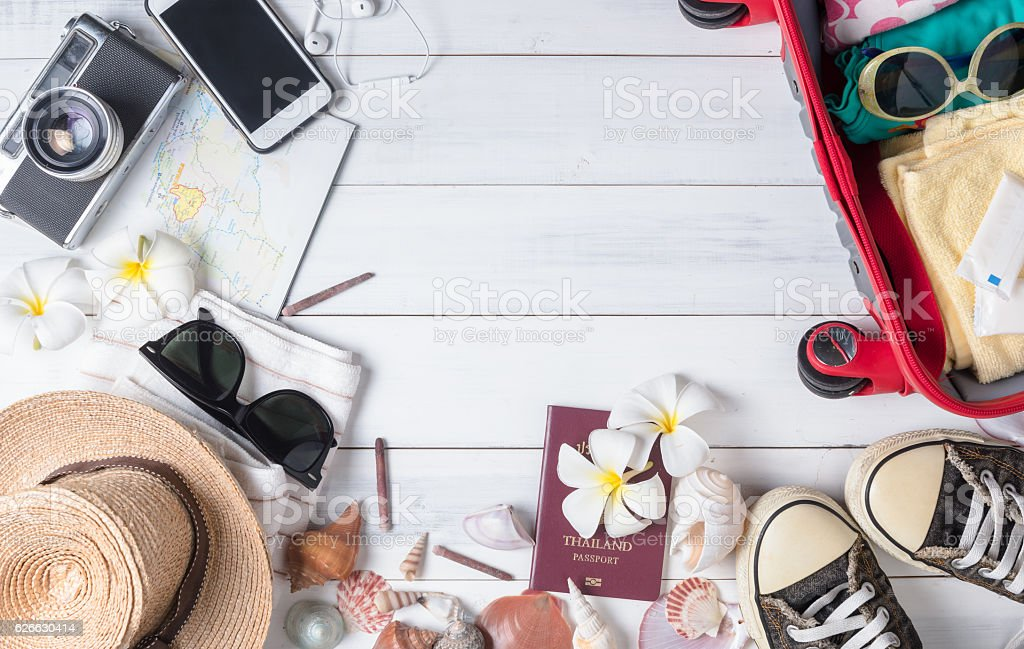 prepare accessories and travel items on white wooden stock photo